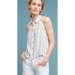 Anthropologie Maeve Edinboro Sleeveless Linen Top